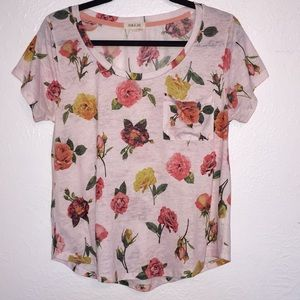 Taylor & Sage Pink Rose Print Burnout Pocket T Lg